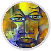 Round Beach Towel featuring the painting Abstract Young Man by Raymond Doward