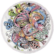 Abstract2colored Round Beach Towel by Quwatha Valentine