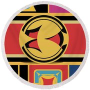Abstraction 10 Round Beach Towel