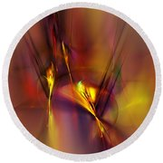 Abstracts Gold And Red 060512 Round Beach Towel by David Lane
