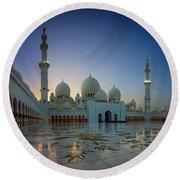 Abu Dhabi Grand Mosque Round Beach Towel