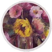 Abundance- Floral Painting Round Beach Towel