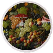 Abundant Fruit Round Beach Towel by Severin Roesen