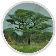 Acacia Tree And Termite Hills Round Beach Towel by Ernie Echols