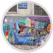 Round Beach Towel featuring the photograph Academy Street Mural by Cole Thompson