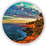 Acadia At Dawn Round Beach Towel