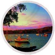 Acadia Bar Harbor Sunset Cruises.tif Round Beach Towel