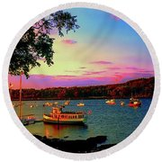 Round Beach Towel featuring the photograph  Acadia Bar Harbor Sunset Cruises.tif by Tom Jelen