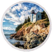 Round Beach Towel featuring the painting Acadia Bass Harbor Lighthouse by Christopher Arndt