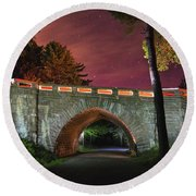 Acadia Carriage Bridge Under The Stars Round Beach Towel