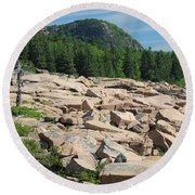 Round Beach Towel featuring the photograph Acadia Coastline by Living Color Photography Lorraine Lynch