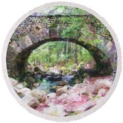 Acadia National Park - Cobblestone Bridge Abstract Round Beach Towel