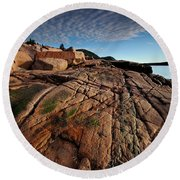 Acadia Rocks Round Beach Towel by Neil Shapiro