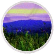 Acadia Sunrise Round Beach Towel by Desiree Paquette