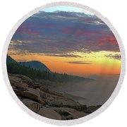 Acadia Sunrise  Round Beach Towel