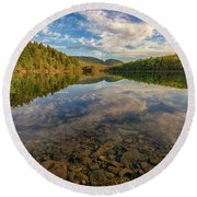 Acadian Reflection Round Beach Towel by Rick Berk