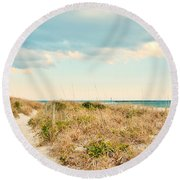 Round Beach Towel featuring the photograph Access 42 Wrightsville Beach by Kelly Nowak
