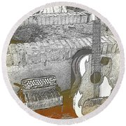 Accordion , Bajo Sexto Round Beach Towel