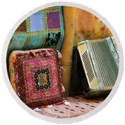 Accordion  With Colorful Pillows Round Beach Towel