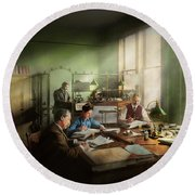 Round Beach Towel featuring the photograph Accountant - The- Bookkeeping Dept 1902 by Mike Savad
