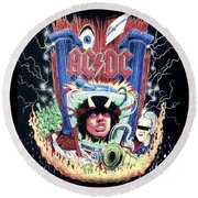 Round Beach Towel featuring the digital art Acdc by Gina Dsgn