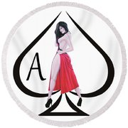 Round Beach Towel featuring the digital art Ace Of Spades3 by Joseph Ogle