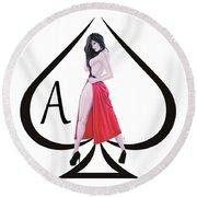 Ace Of Spades3 Round Beach Towel by Joseph Ogle