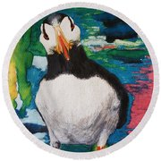 Ace   Puffin Huff Round Beach Towel