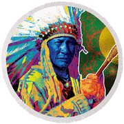 Aceca Indian Chief Round Beach Towel