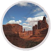 Aches National Park Round Beach Towel by Henri Irizarri