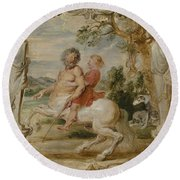Achilles Educated By The Centaur Chiron Round Beach Towel