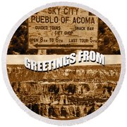 Acoma Pueblo New Mexico Custom Pc Round Beach Towel