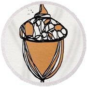 Acorn- Art By Linda Woods Round Beach Towel