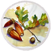 Acorns And Leaves Round Beach Towel