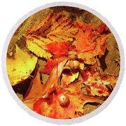 Acorns Fall Maple Leaf Round Beach Towel