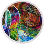 Acoustic Cubed Round Beach Towel