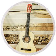 Acoustic Guitar Still Life Art Round Beach Towel