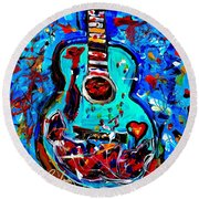 Acoustic Love Guitar Round Beach Towel