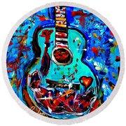 Acoustic Love Guitar Round Beach Towel