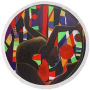 Acrobat In Ring Round Beach Towel