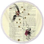 Acrobatics Women Circusact Vintage Illustration On Book Page Round Beach Towel