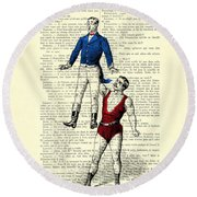 Circus Acrobats In Red And Blue Dictionary Art Print Round Beach Towel