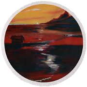 Across Amber Fields To The Sea Round Beach Towel by Donna Blackhall
