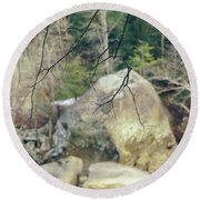 Across From Eagle Falls Round Beach Towel