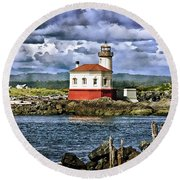 Across From The Coquille River Lighthouse Round Beach Towel