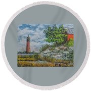 Across The Bay Round Beach Towel