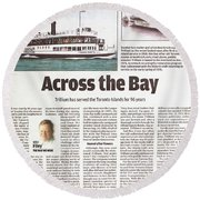 Round Beach Towel featuring the painting Toronto Sun Article Across The Bay by Kenneth M Kirsch