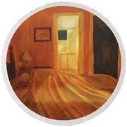 Across The Bed Round Beach Towel