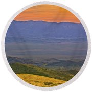 Across The Carrizo Plain At Sunset Round Beach Towel by Marc Crumpler