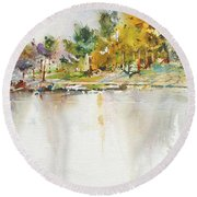 Across The Pond Round Beach Towel